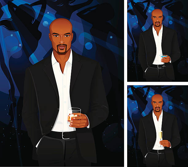 Man with cognac or blue martini and champagne vector art illustration