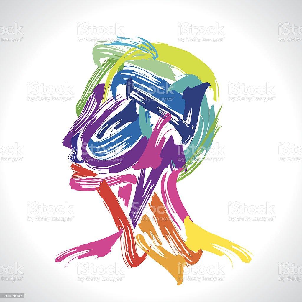 Человек с красочные изображение векторная иллюстрация