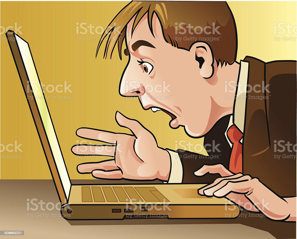 Man With Computer vector art illustration