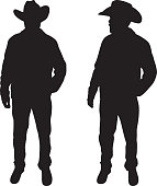 Man with Cowboy Hat Silhouette