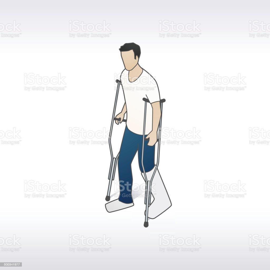 Man With Crutches Illustration vector art illustration