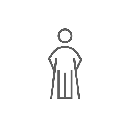 Man with crutches line icon