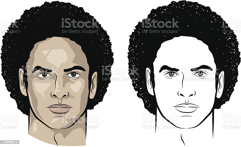 Man with curly hair royalty-free stock vector art