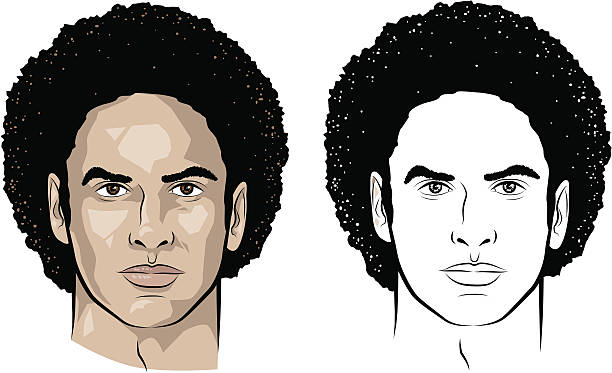 Man with curly hair Vector-illustration of a young man's face. suave stock illustrations