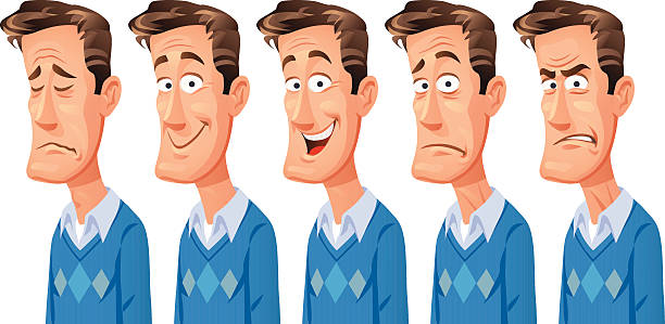 man with different facial expressions - part of a series stock illustrations, clip art, cartoons, & icons