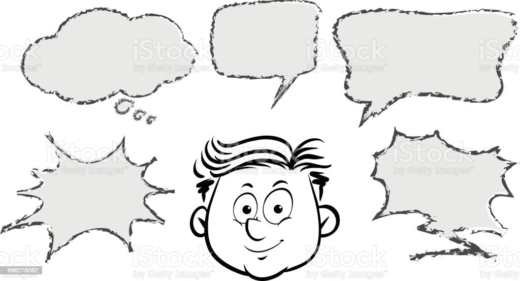 Man With Different Speech Bubble Templates stock vector art ...