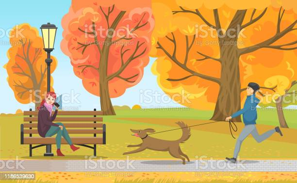 Man with dog and girl on bench in autumn park vector id1186539630?b=1&k=6&m=1186539630&s=612x612&h=iga61o9kux4oxho3obfxyvsd c f1m0 aulh hlmzwy=
