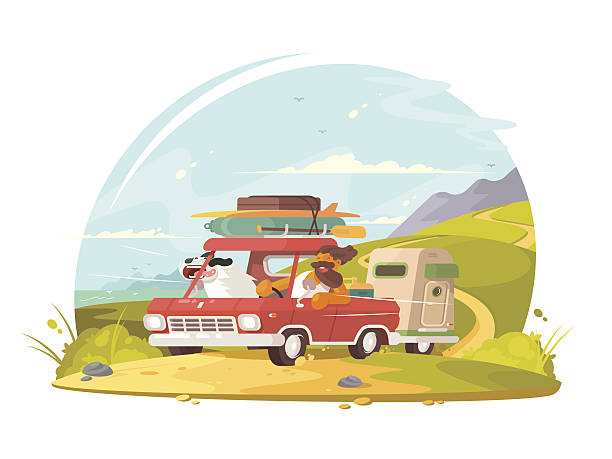 Man with dog go on vacation vector art illustration