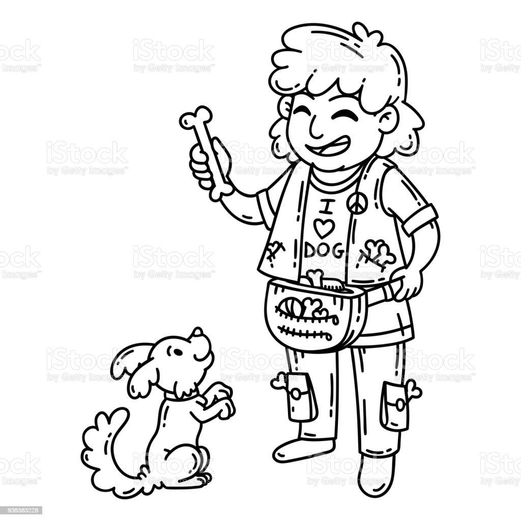 Ilustración de Hombre Con Perro Objetos Aislados Sobre Fondo Blanco ...