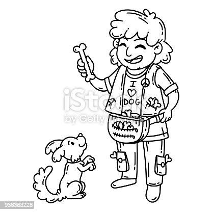 Köpekli Adam Beyaz Arka Plan üzerinde Izole Nesneleri çizgi Film