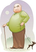 Middle aged man with a cane walking his dog on a leash. ZIP includes: AI, PDF, 300dpi jpeg.