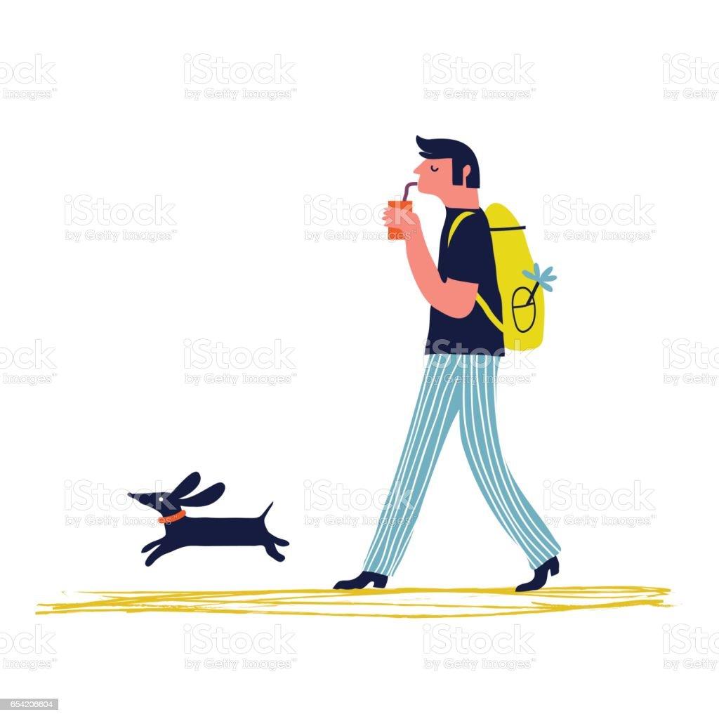 Mann mit Hund – Vektorgrafik
