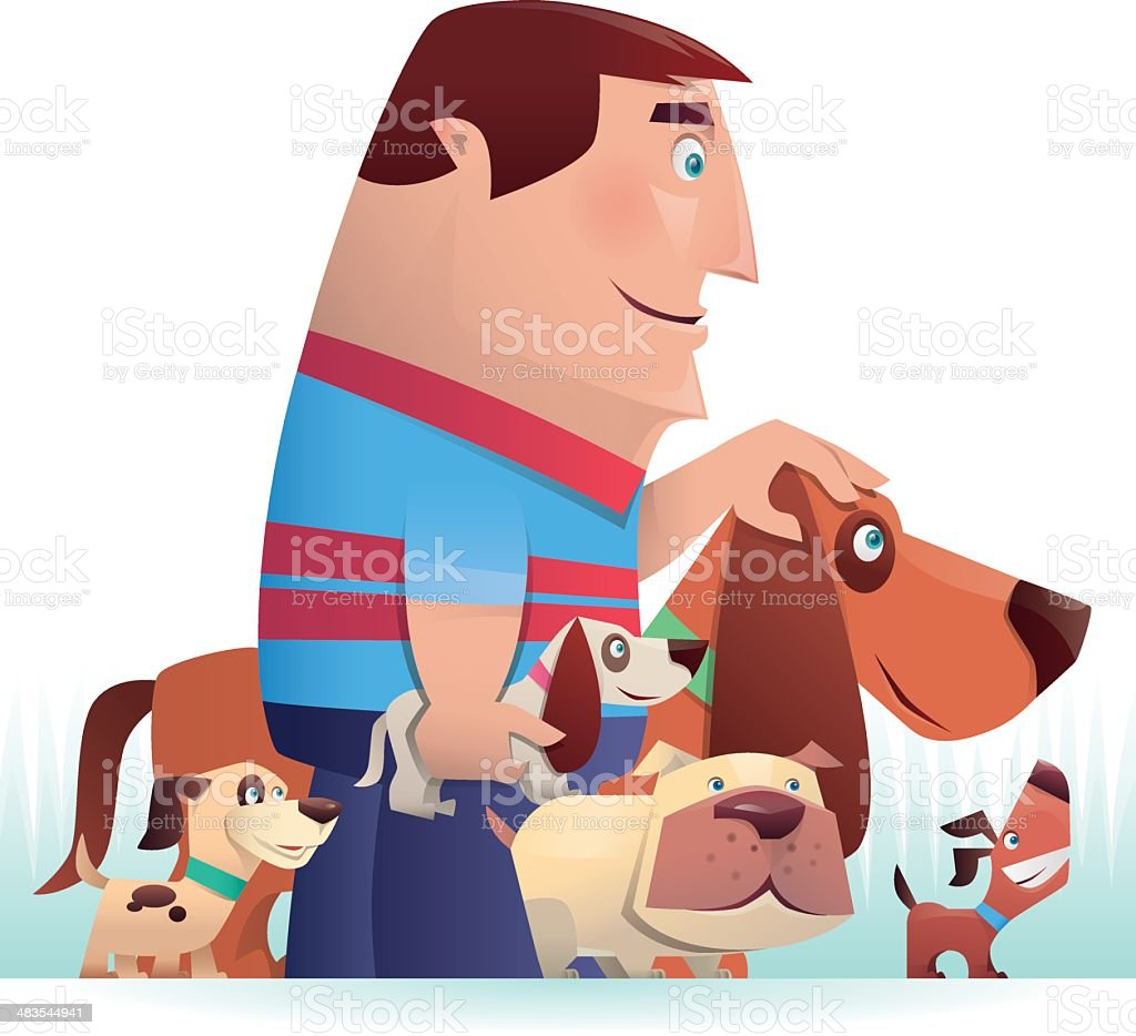 man with dogs royalty-free stock vector art