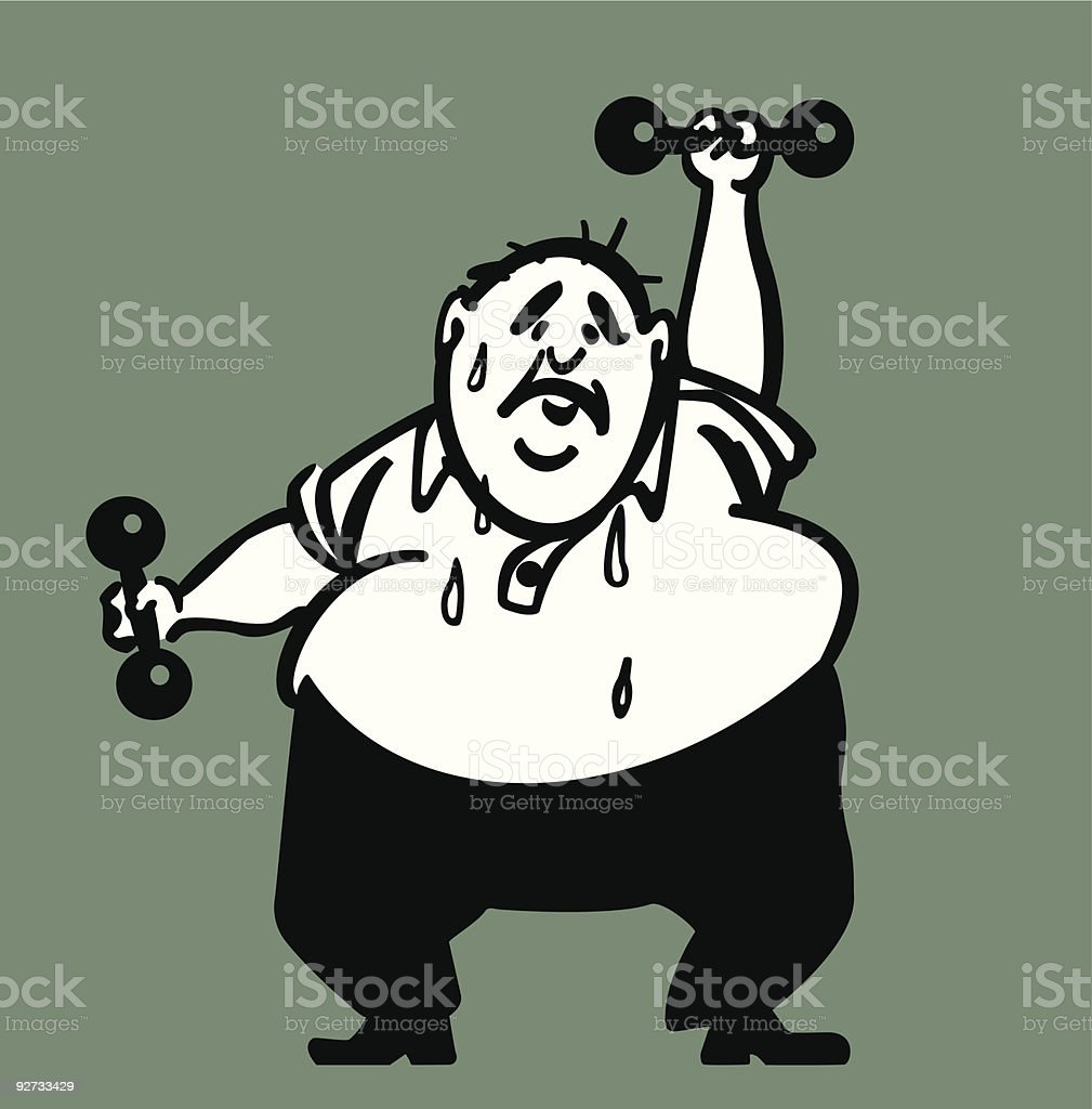 Man with Dumbbells - 1960s stylization royalty-free man with dumbbells 1960s stylization stock vector art & more images of 1960-1969