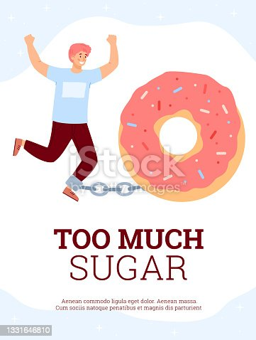 istock Man with eating disorder or addiction to sugar flat vector illustration isolated. 1331646810