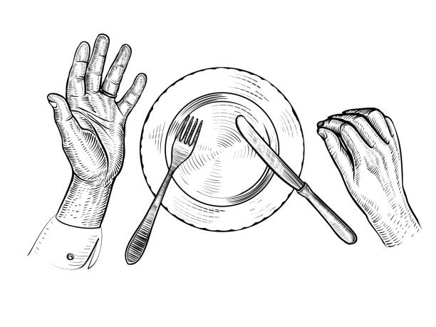 illustrazioni stock, clip art, cartoni animati e icone di tendenza di man with empty plate. hands, plate, fork, knife, top view. vector line illustration. - galateo a tavola