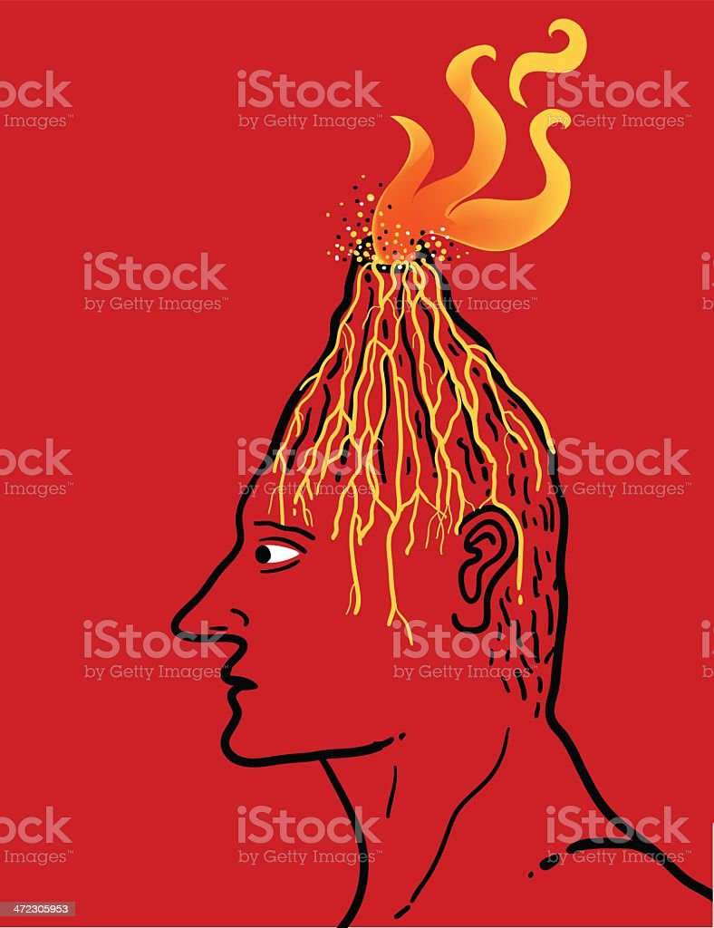 man with erupting volcano in its head vector art illustration