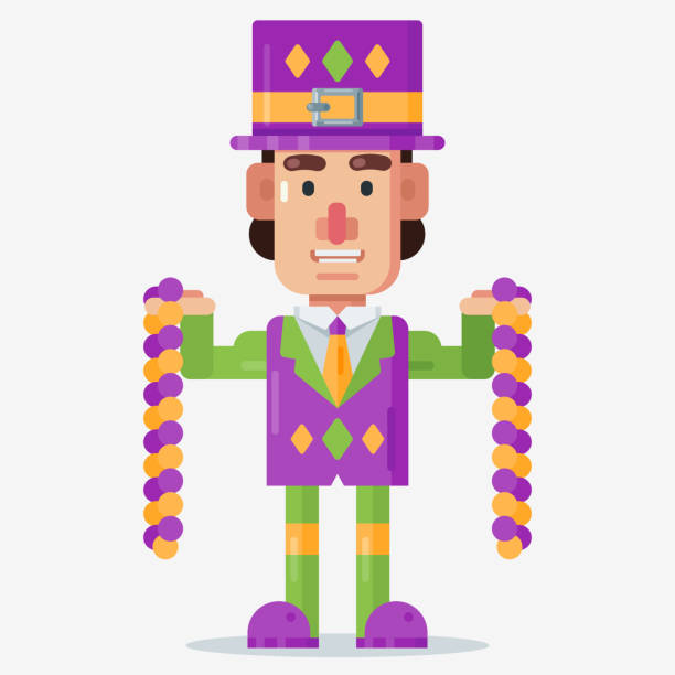 man with fancy costume celebrate mardi gras holding beads - mardi gras cartoons stock illustrations, clip art, cartoons, & icons