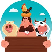 vector illustration of of man with farm animals…