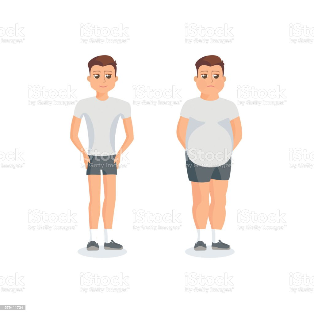 Man with fat abdomen and athletic man vector art illustration