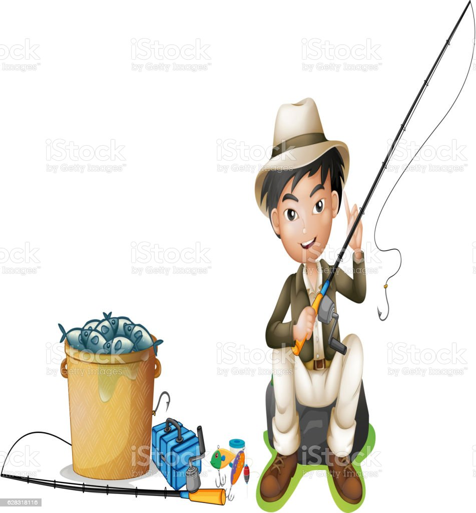 Man with fishing pole and bucket of fish stock vector art for Bucket of fish
