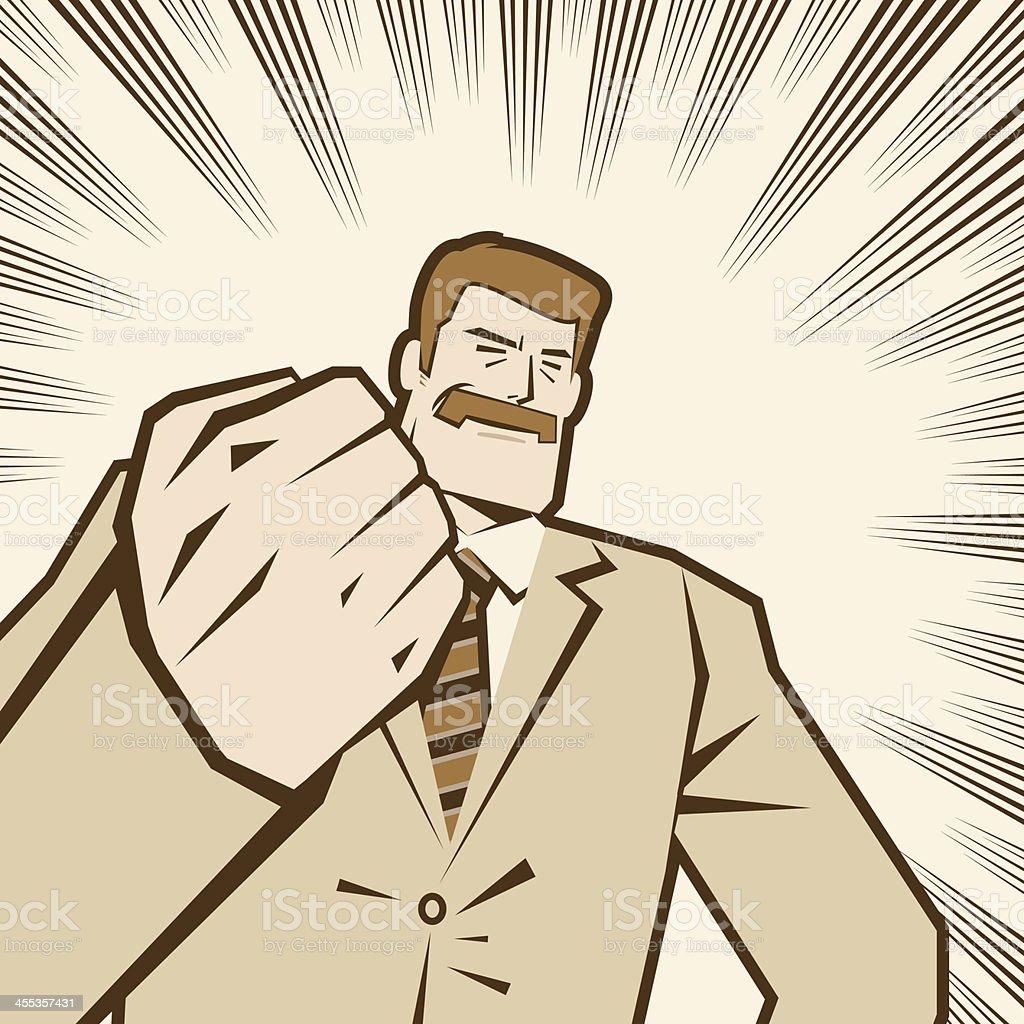 Man with Fist Raised vector art illustration