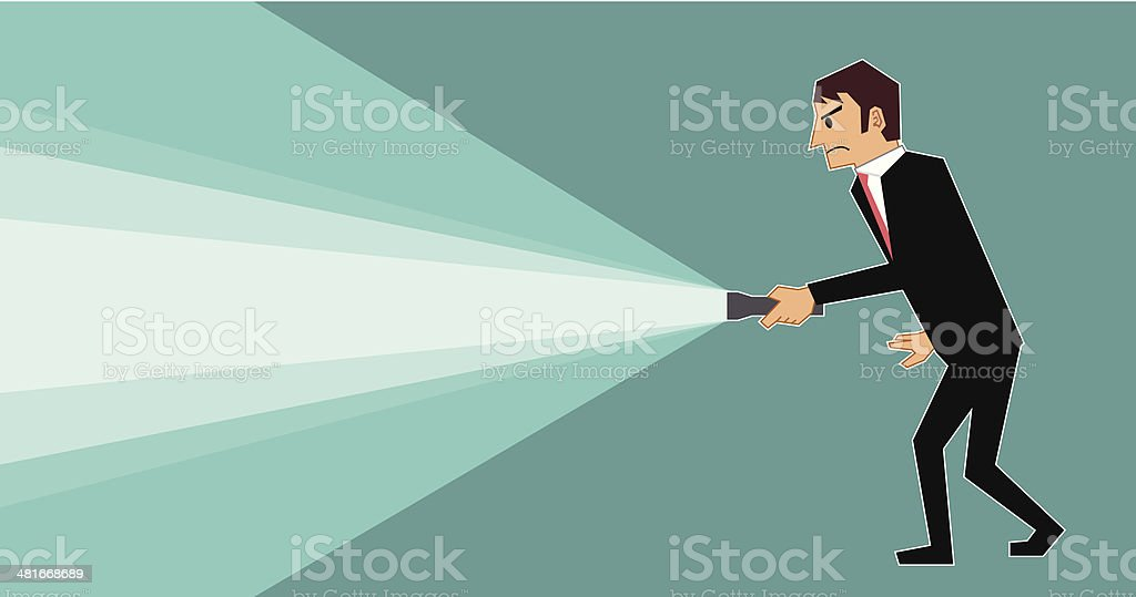 Man with flashlight royalty-free stock vector art