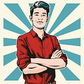 Pop art illustration of a handsome young man standing with his arms folded.