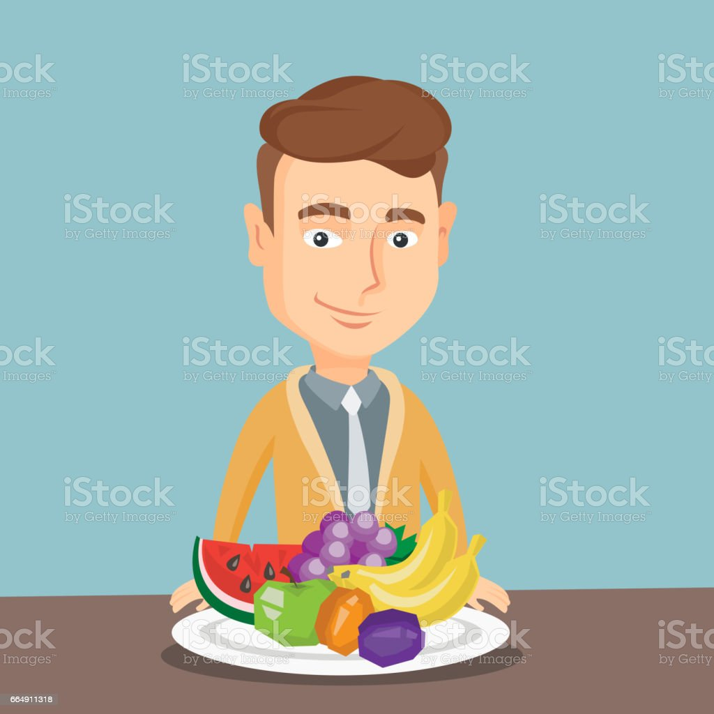 Man with fresh fruits vector illustration man with fresh fruits vector illustration - immagini vettoriali stock e altre immagini di agricoltura biologica royalty-free