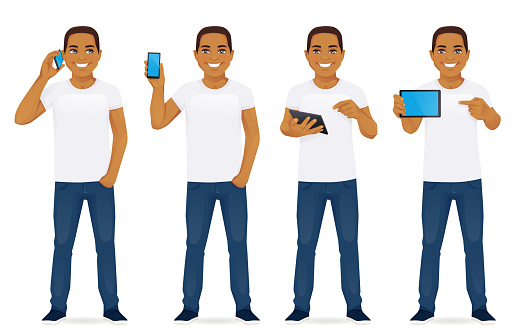 Man with gadgets set