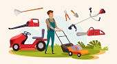 Man with gardening equipment vector illustration. Various lawn mowing, grass trimming machines. Landscaping service worker, gardener cartoon character. Chainsaw, leaf blower, rake, secateurs and scoop