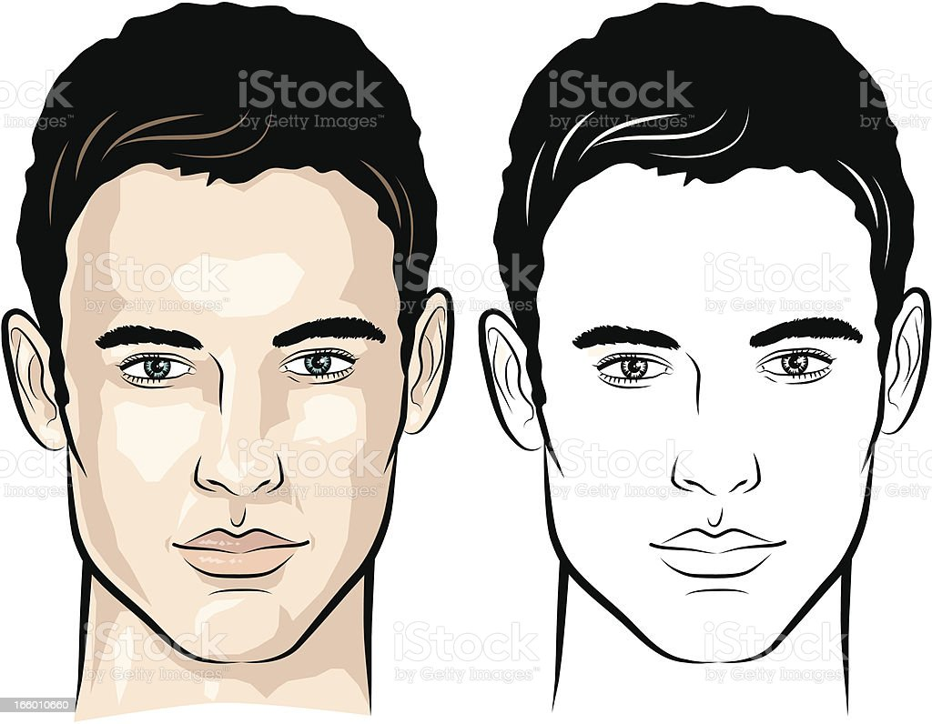Line Drawing Of Human Face : Man with gentle look stock vector art more images of years
