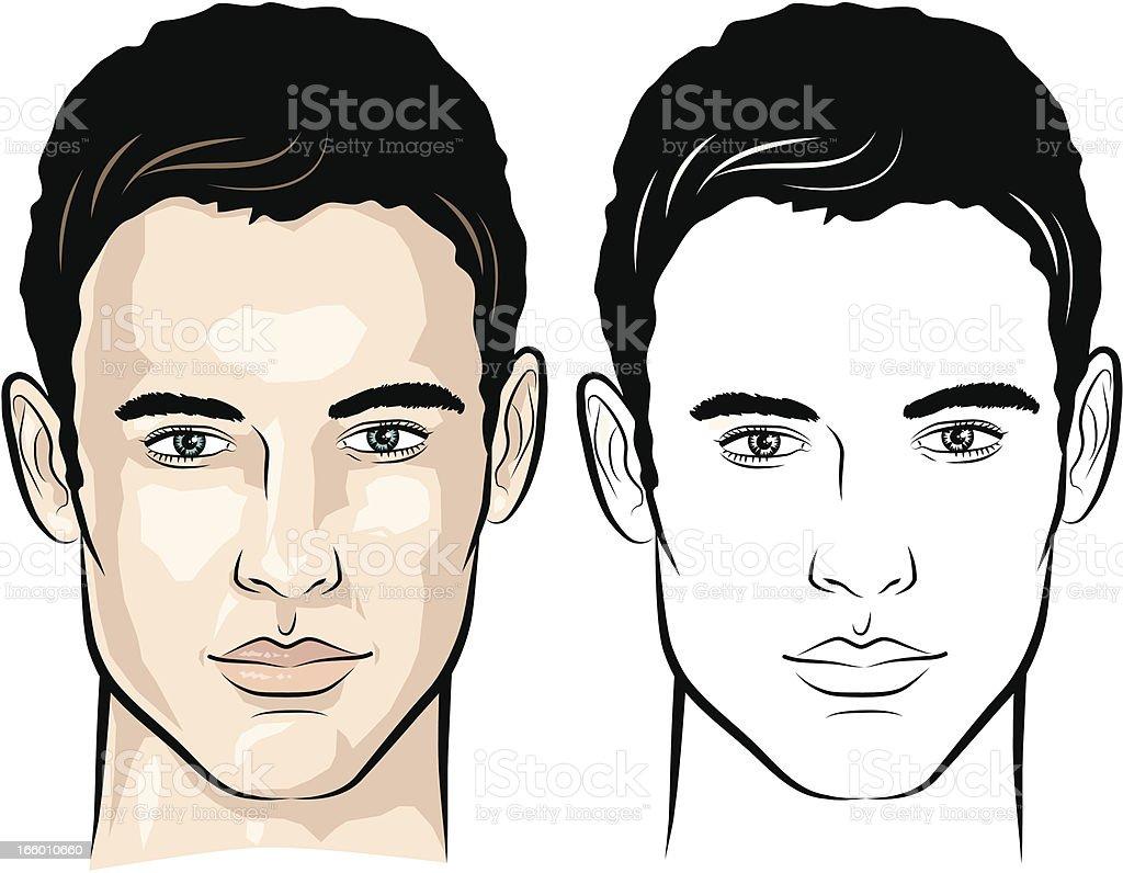 Man with gentle look vector art illustration