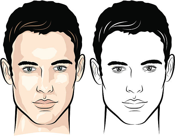 Man with gentle look Vector-illustration of a young man's face. suave stock illustrations