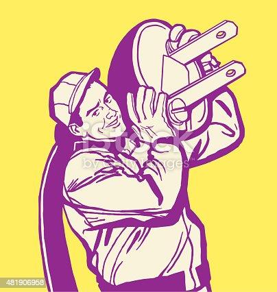 istock Man With Giant Plug 481906958