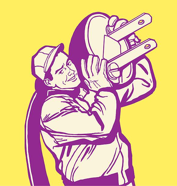 ilustrações, clipart, desenhos animados e ícones de man with giant plug - eletricista