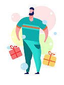 Man with Gift Box Cartoon Vector Illustration