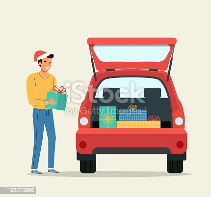 istock Man with Gift boxes next to the trunk of the car. Vector flat style illustration 1195020956