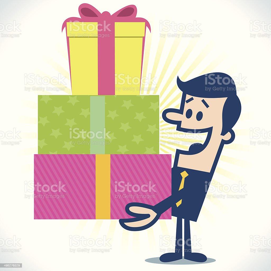 Hombre con regalos - ilustración de arte vectorial
