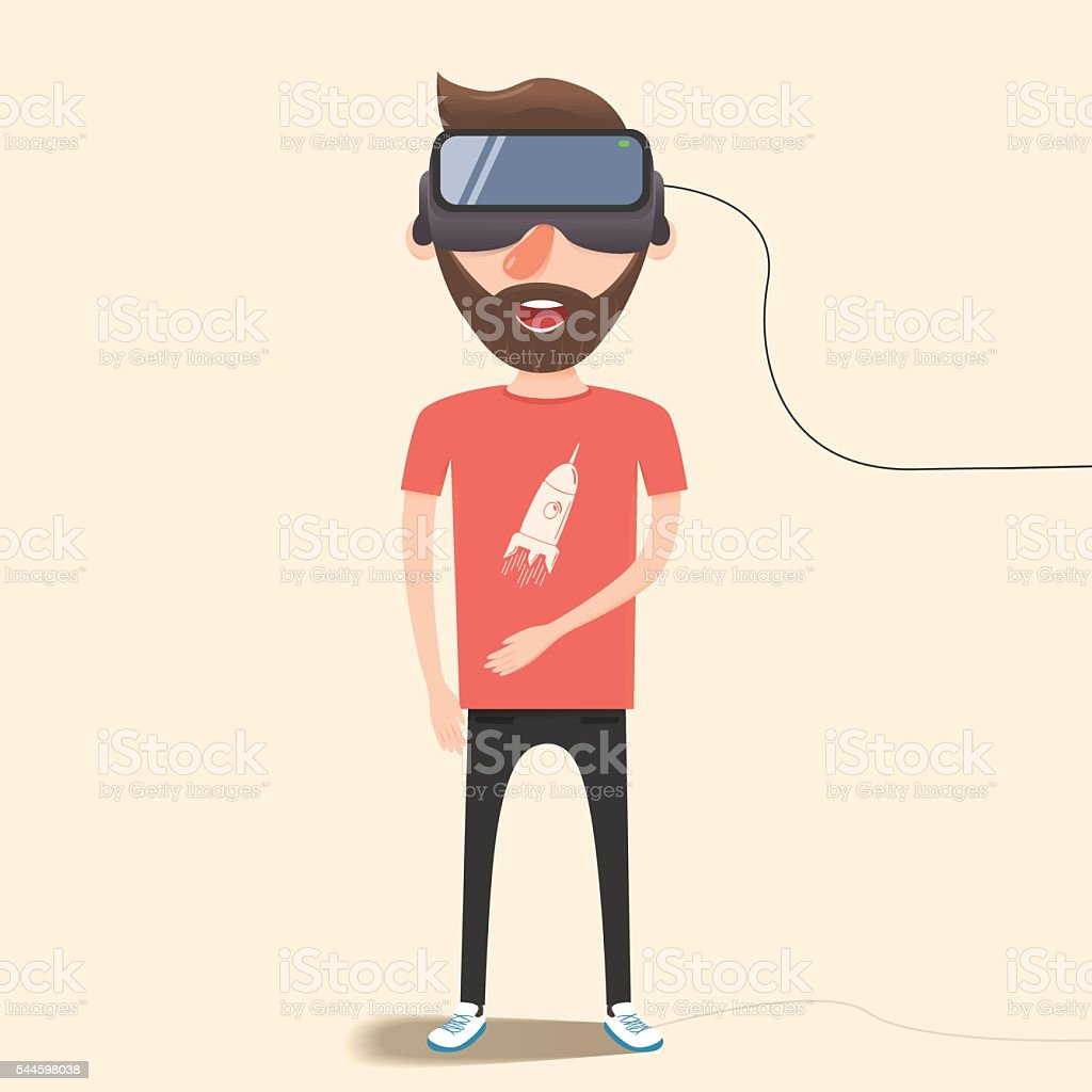 Man with glasses of virtual reality. Flat vector illustration vector art illustration
