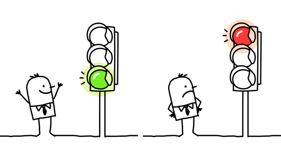 man with green & red lights