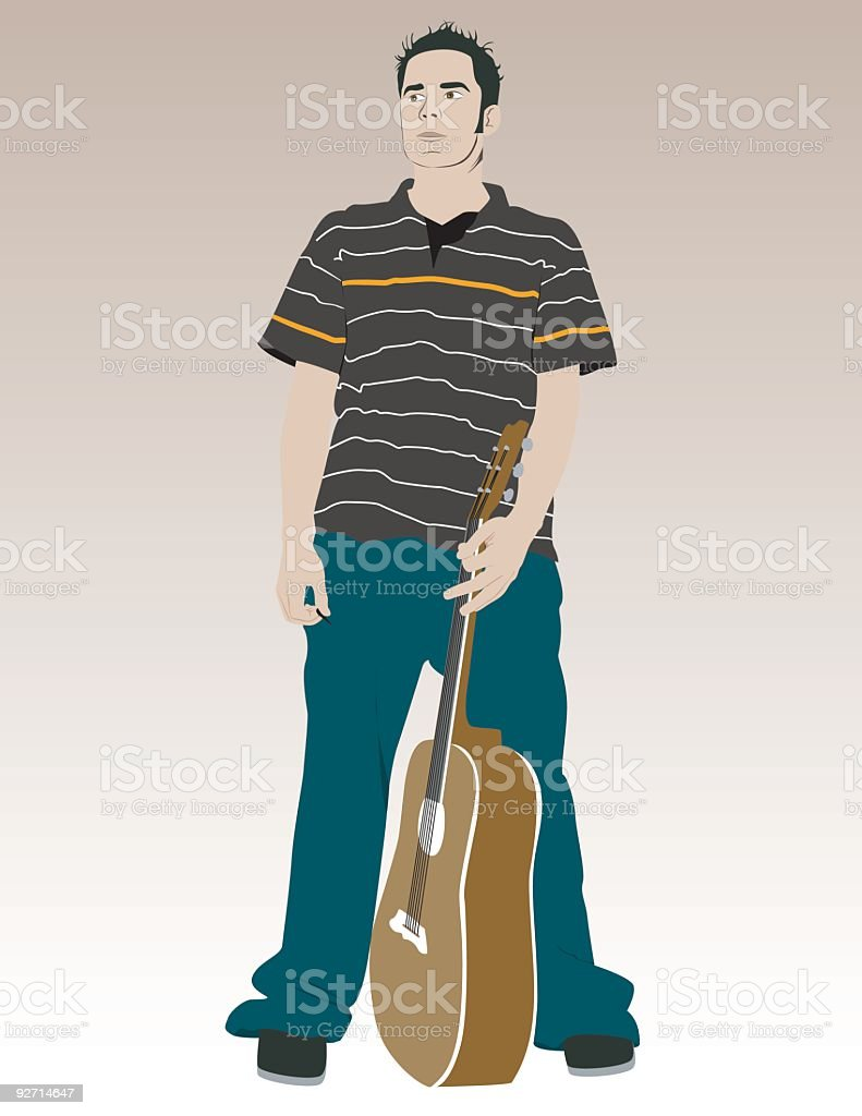 Man with guitar vector art illustration