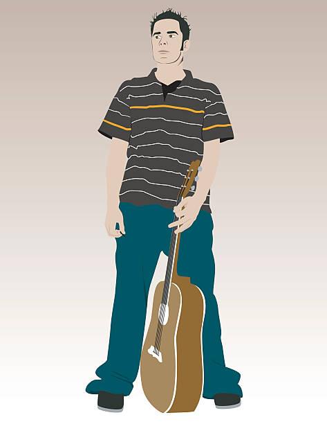 Man with guitar vector art illustration