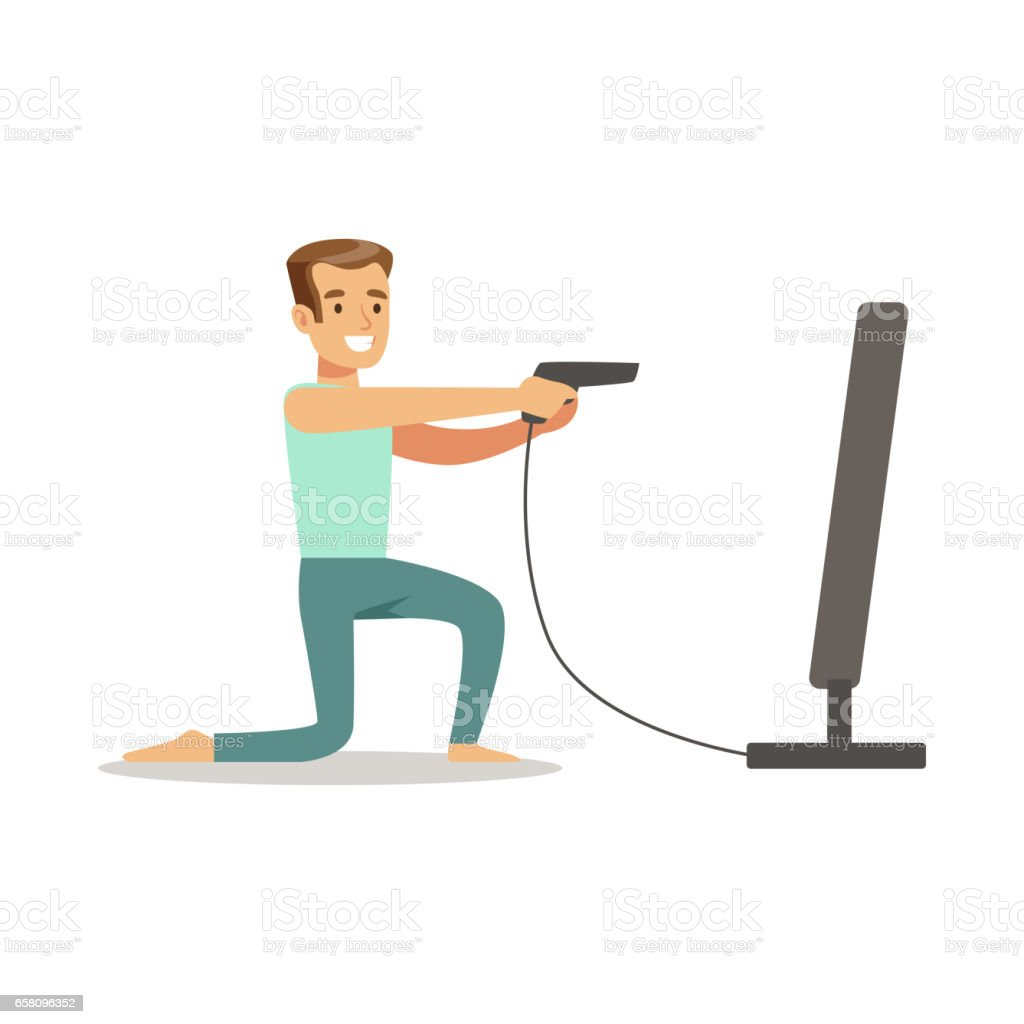 Man With Gun Joystick Shooting,Part Of Happy Gamers Enjoying Playing Video Game, People Indoors Having Fun With Computer Gaming royalty-free man with gun joystick shootingpart of happy gamers enjoying playing video game people indoors having fun with computer gaming stock vector art & more images of adult