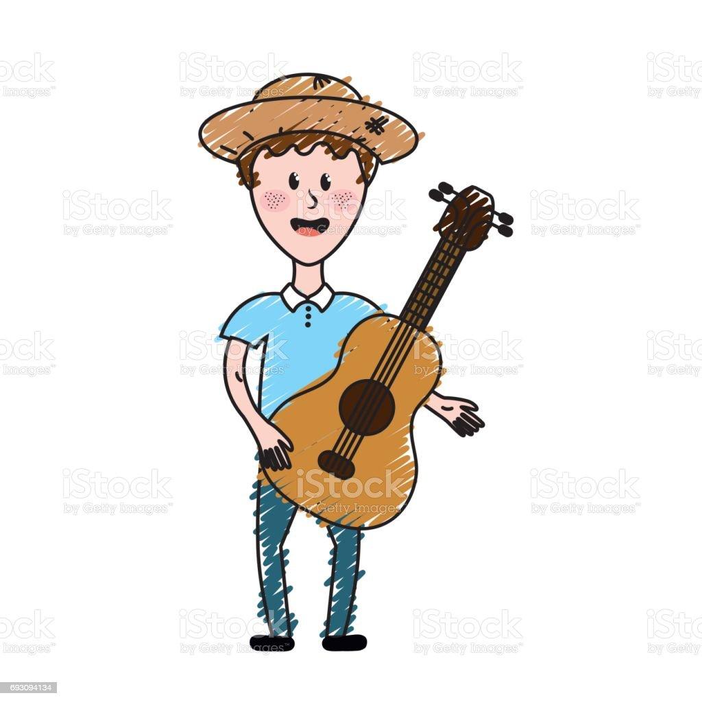 Mann Mit Hut Und Gitarre Instrument Stock Vektor Art und mehr Bilder ...