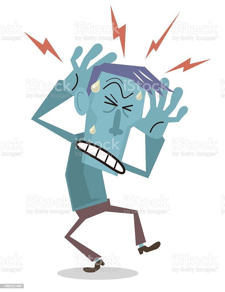 Man with headache, holding head in pain vector art illustration