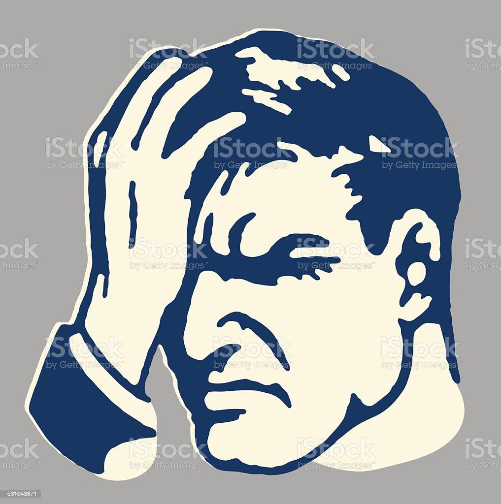 Man with Headache vector art illustration