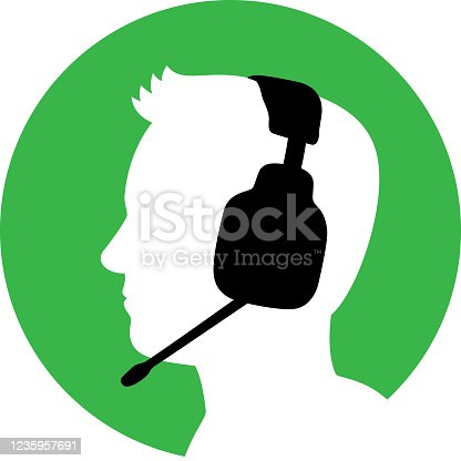 istock Man with Headset Icon Silhouette 1 1235957691