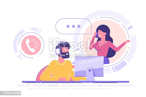 istock Man with headset is sitting at his computer and  talking with client. Clients assistance, call center, hotline operator, consultant manager, technical support and customer care. Vector illustration. 1248443439