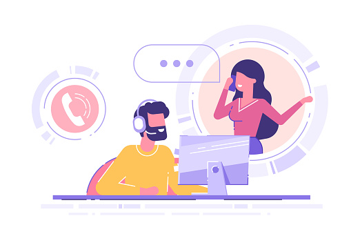 Man with headset is sitting at his computer and  talking with client. Clients assistance, call center, hotline operator, consultant manager, technical support and customer care. Vector illustration.